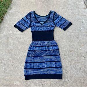 Karen Millen Blue Knit Dress Striped Stretch VNeck
